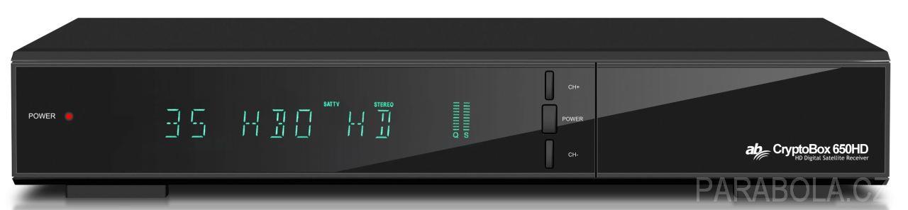 aa90f6b5e 1 - AB CryptoBox 650HD Srdcem přijímačů je dvoujádrový procesor ALI s  taktovací frekvencí 600 MHz. Přijímače jsou schopny přijímat SD a HD  signály v ...