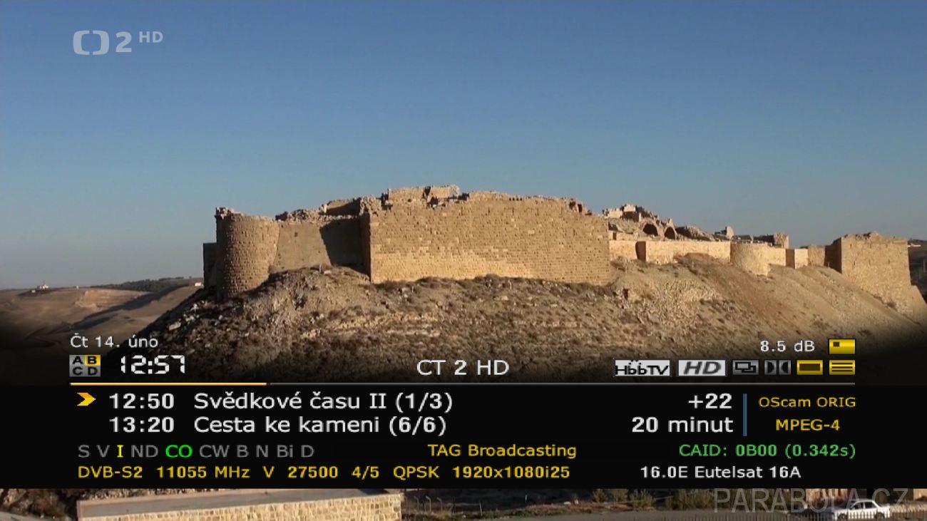 """8a577fed0 4 - Záběr z příjmu stanice ČT2 HD, paket Antik Sat Připomeňme, že základní  nabídku programů """"Pre začiatok"""" lze pořídit za pouhých 0,99 € měsíčně."""
