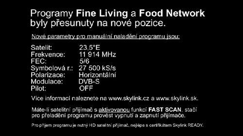 Skylink: Fine Living, Food Network a MGM - konec souběhu ...