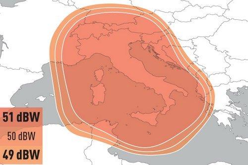 Obrázek k textu: Eutelsat 9B v provozu. Italský svazek aktivní