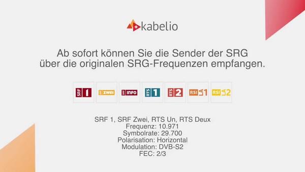 Tekstuele informatie van de DTH-serviceprovider Kabelio over de verandering van TP-stations SRG SSR