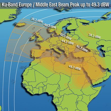 Footprint satelitu Intelsat 10, Europe/Middle East beam, obrázek: Intelsat