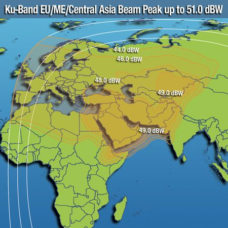 Footprint satelitu Intelsat 20, Europe/Middle East/Central Asia beam, obrázek: Intelsat