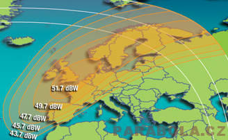 Footprint satelitu Intelsat 603 (20°W), Ku pásmo, west spot