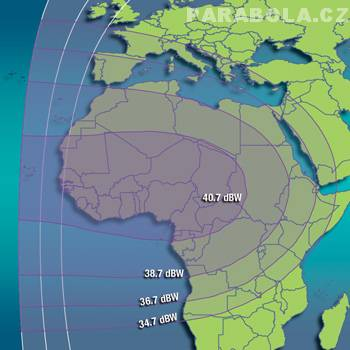 Footprint satelitu Intelsat 702 (55,1°E), C pásmo