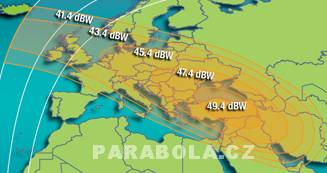 Footprint satelitu Intelsat 702 (55,1°E), Ku pásmo, S1 beam