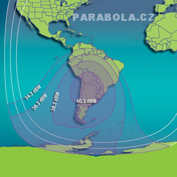 Footprint satelitu Intelsat 707 (53°W), C pásmo